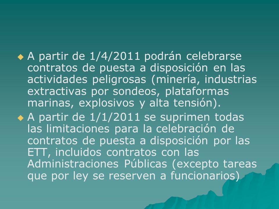 A partir de 1/4/2011 podrán celebrarse contratos de puesta a disposición en las actividades peligrosas (minería, industrias extractivas por sondeos, p