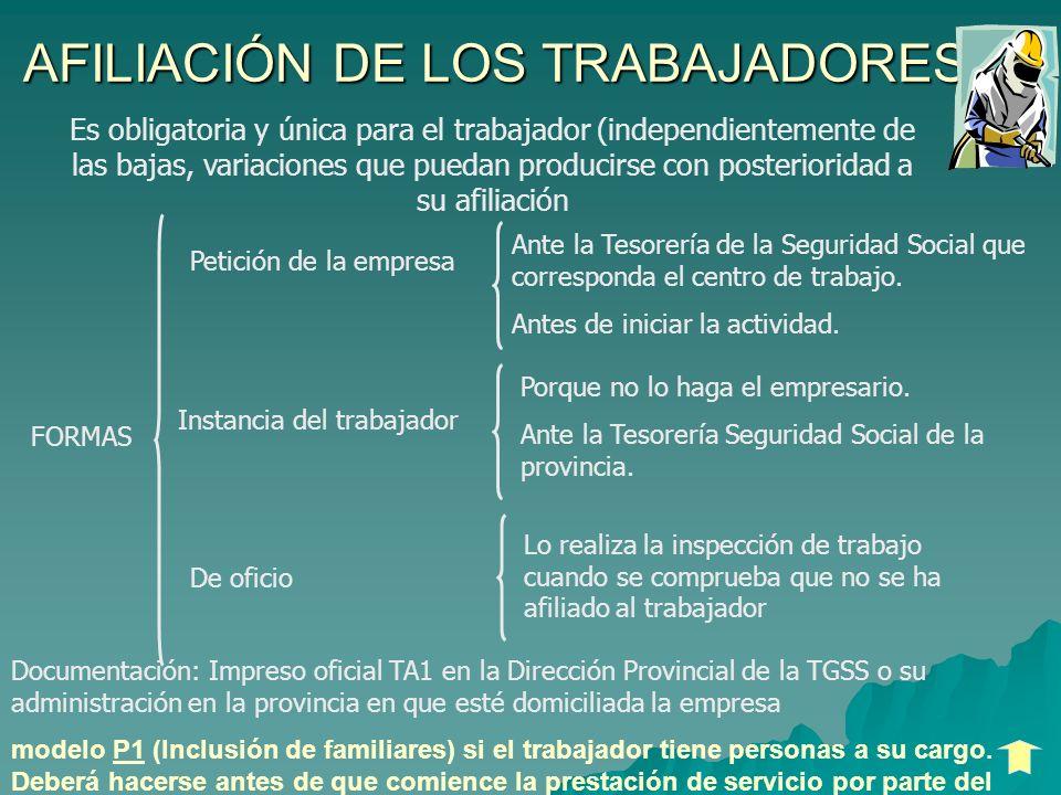 AFILIACIÓN DE LOS TRABAJADORES Es obligatoria y única para el trabajador (independientemente de las bajas, variaciones que puedan producirse con poste