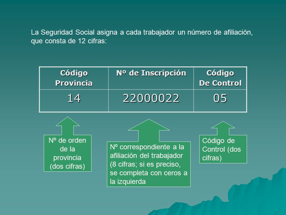 CódigoProvincia Nº de Inscripción Código De Control 142200002205 Nº de orden de la provincia (dos cifras) Nº correspondiente a la afiliación del traba