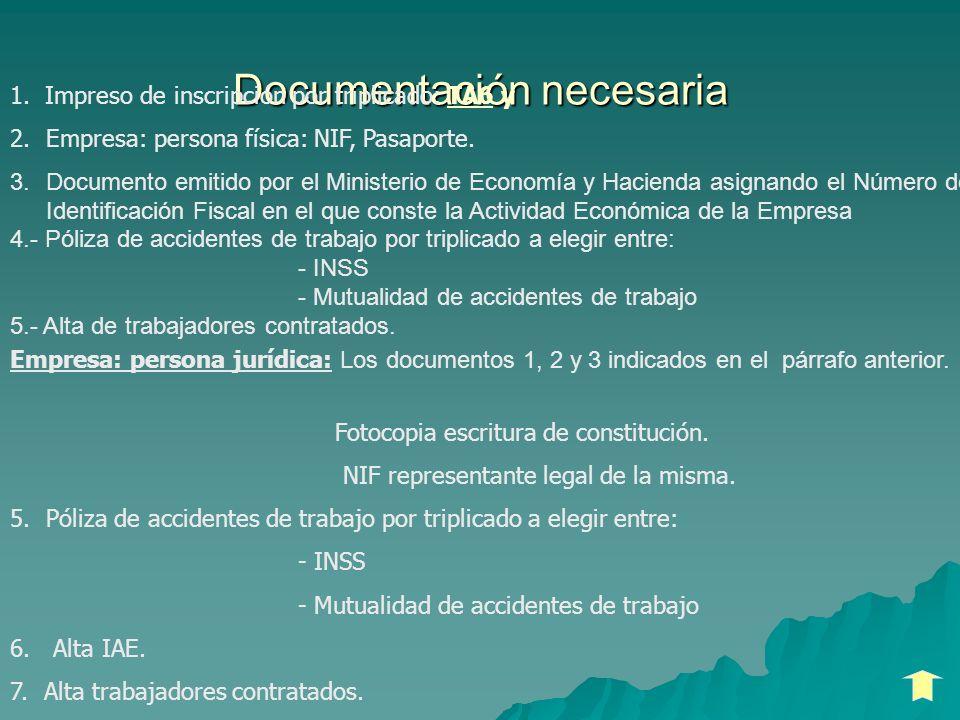 Documentación necesaria 1. Impreso de inscripción por triplicado: TA6 y 2.Empresa: persona física: NIF, Pasaporte. 3.Documento emitido por el Minister