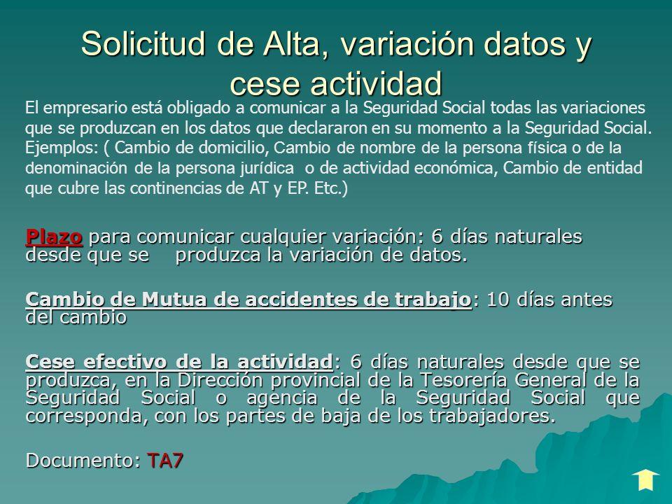 Solicitud de Alta, variación datos y cese actividad Plazo para comunicar cualquier variación: 6 días naturales desde que se produzca la variación de d