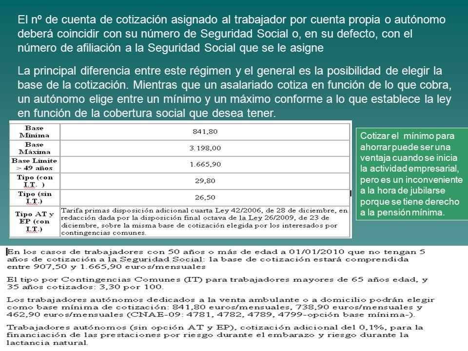 El nº de cuenta de cotización asignado al trabajador por cuenta propia o autónomo deberá coincidir con su número de Seguridad Social o, en su defecto,