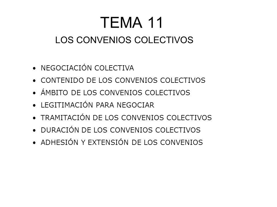 TEMA 11 LOS CONVENIOS COLECTIVOS NEGOCIACIÓN COLECTIVA CONTENIDO DE LOS CONVENIOS COLECTIVOS ÁMBITO DE LOS CONVENIOS COLECTIVOS LEGITIMACIÓN PARA NEGO