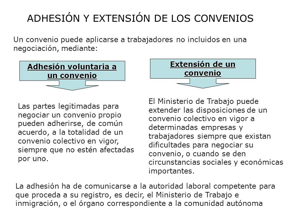 ADHESIÓN Y EXTENSIÓN DE LOS CONVENIOS Un convenio puede aplicarse a trabajadores no incluidos en una negociación, mediante: Las partes legitimadas par