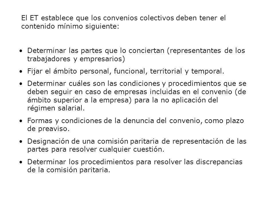 El ET establece que los convenios colectivos deben tener el contenido mínimo siguiente: Determinar las partes que lo conciertan (representantes de los