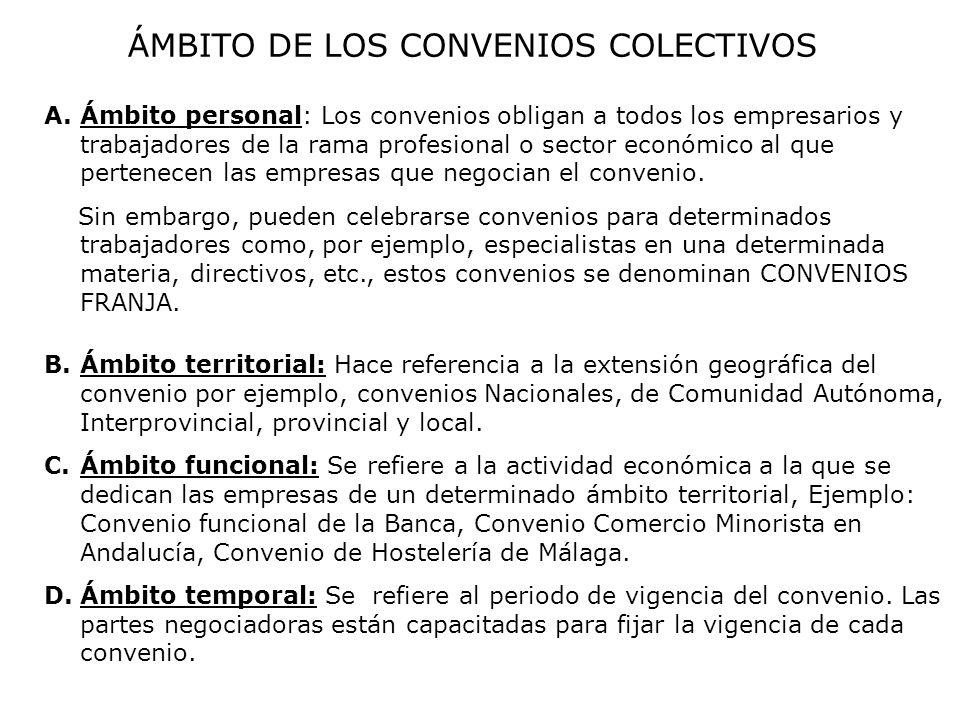 ÁMBITO DE LOS CONVENIOS COLECTIVOS A.Ámbito personal: Los convenios obligan a todos los empresarios y trabajadores de la rama profesional o sector eco