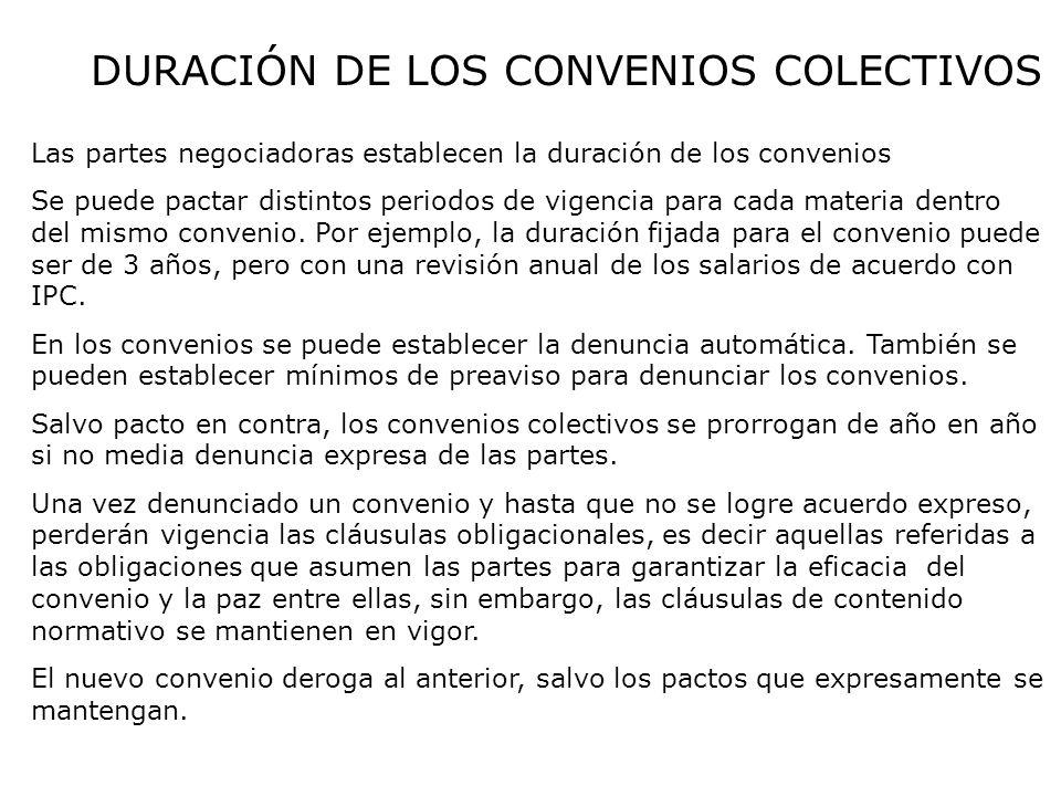 DURACIÓN DE LOS CONVENIOS COLECTIVOS Las partes negociadoras establecen la duración de los convenios Se puede pactar distintos periodos de vigencia pa