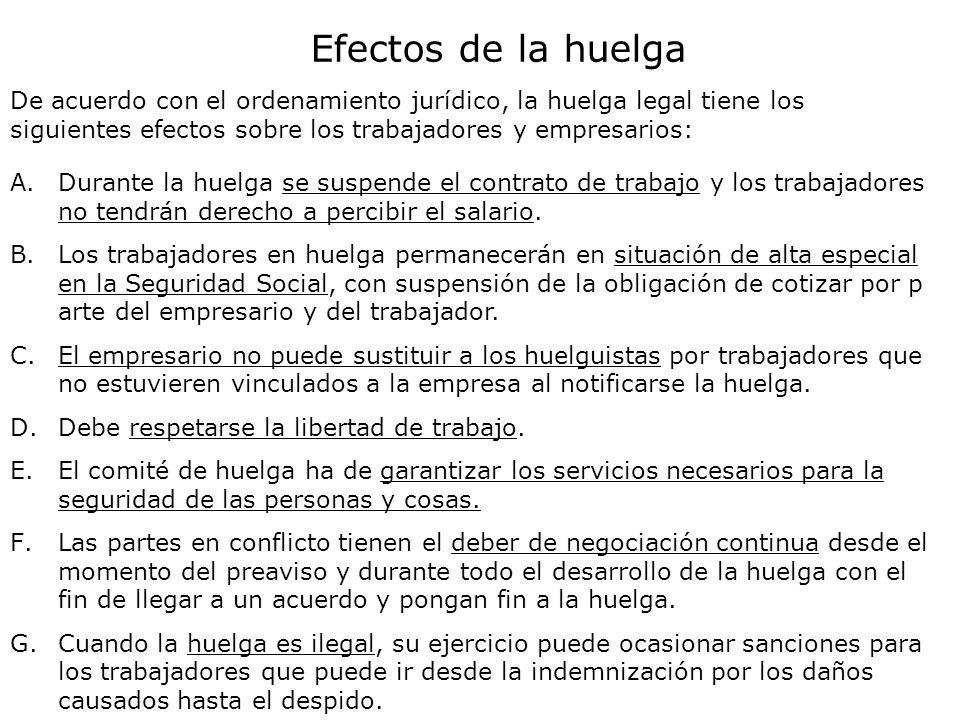 Efectos de la huelga De acuerdo con el ordenamiento jurídico, la huelga legal tiene los siguientes efectos sobre los trabajadores y empresarios: A.Dur