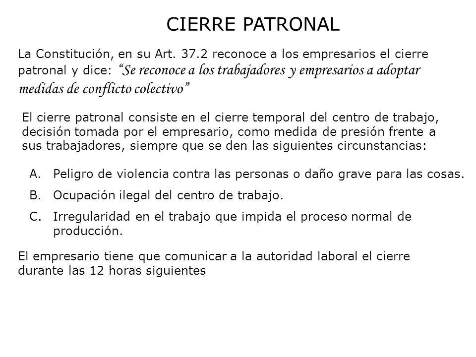 CIERRE PATRONAL La Constitución, en su Art. 37.2 reconoce a los empresarios el cierre patronal y dice: Se reconoce a los trabajadores y empresarios a
