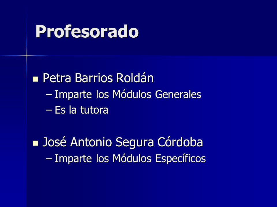 Profesorado Petra Barrios Roldán Petra Barrios Roldán –Imparte los Módulos Generales –Es la tutora José Antonio Segura Córdoba José Antonio Segura Cór