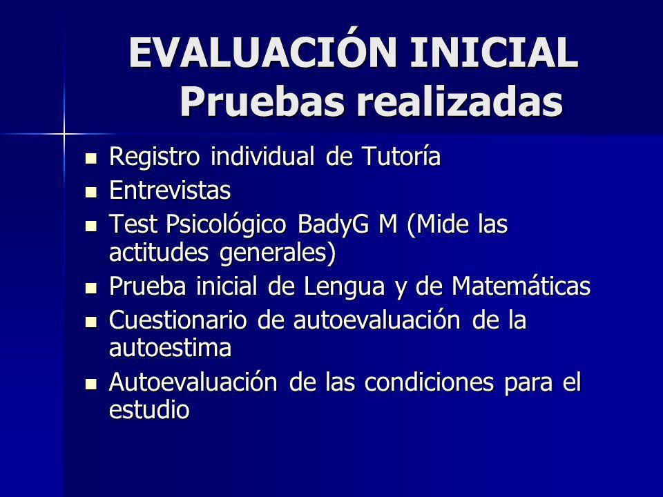 EVALUACIÓN INICIAL Pruebas realizadas Registro individual de Tutoría Registro individual de Tutoría Entrevistas Entrevistas Test Psicológico BadyG M (