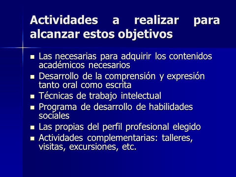 Actividades a realizar para alcanzar estos objetivos Las necesarias para adquirir los contenidos académicos necesarios Las necesarias para adquirir lo