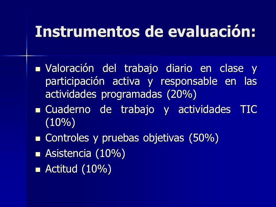 Instrumentos de evaluación: Valoración del trabajo diario en clase y participación activa y responsable en las actividades programadas (20%) Valoració