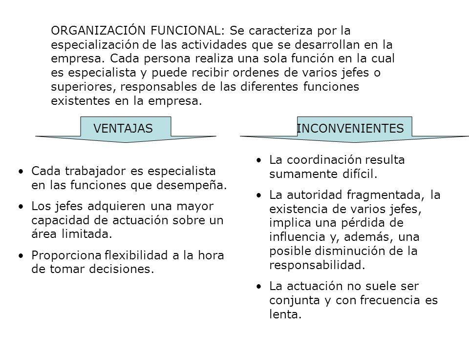 ORGANIZACIÓN FUNCIONAL: Se caracteriza por la especialización de las actividades que se desarrollan en la empresa. Cada persona realiza una sola funci