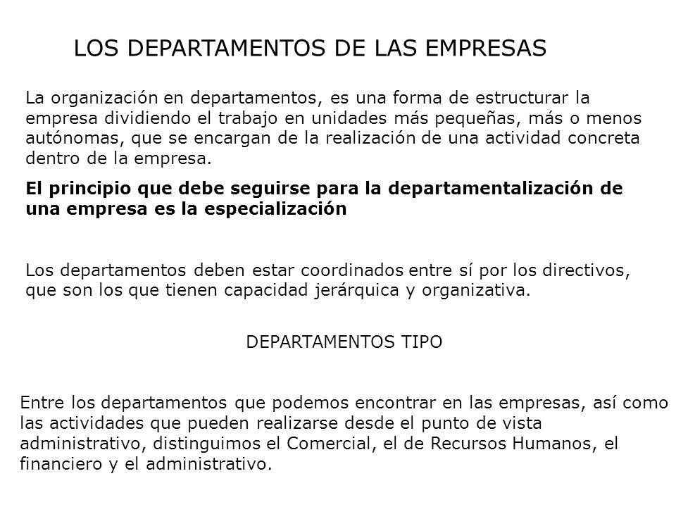 LOS DEPARTAMENTOS DE LAS EMPRESAS La organización en departamentos, es una forma de estructurar la empresa dividiendo el trabajo en unidades más peque