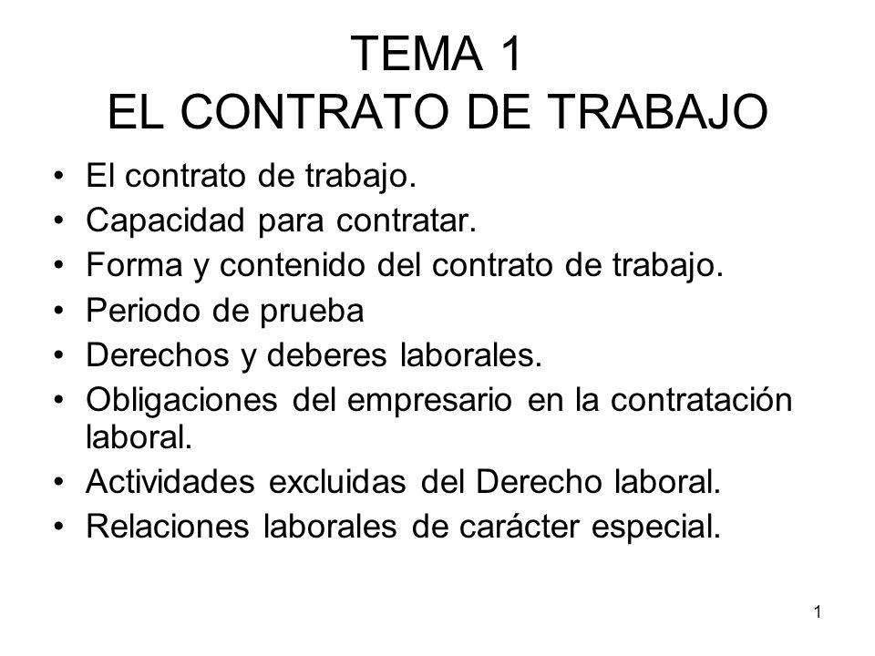 1 TEMA 1 EL CONTRATO DE TRABAJO El contrato de trabajo. Capacidad para contratar. Forma y contenido del contrato de trabajo. Periodo de prueba Derecho