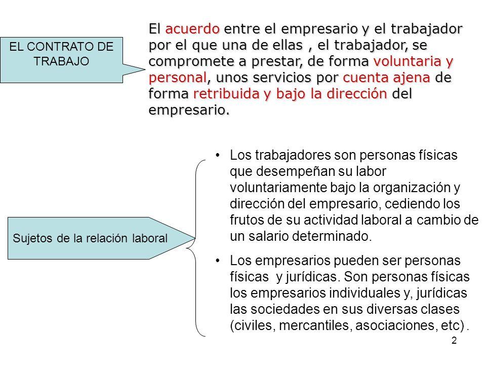 2 EL CONTRATO DE TRABAJO El acuerdo entre el empresario y el trabajador por el que una de ellas, el trabajador, se compromete a prestar, de forma volu