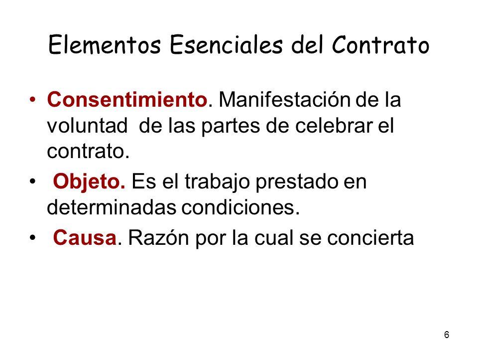 6 Elementos Esenciales del Contrato Consentimiento. Manifestación de la voluntad de las partes de celebrar el contrato. Objeto. Es el trabajo prestado