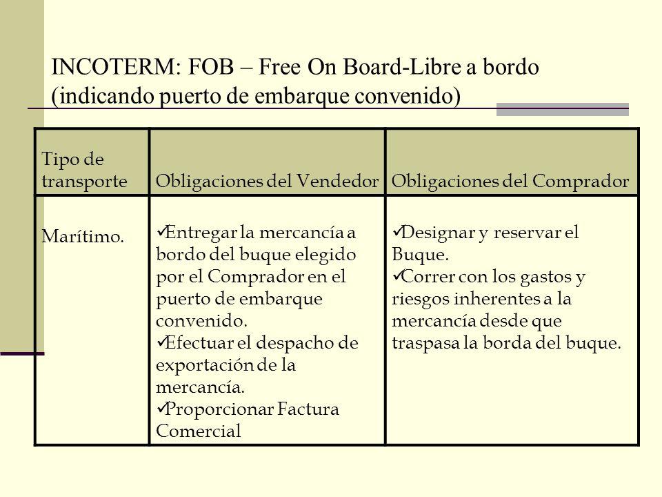 INCOTERM: FOB – Free On Board-Libre a bordo (indicando puerto de embarque convenido) Tipo de transporteObligaciones del VendedorObligaciones del Compr