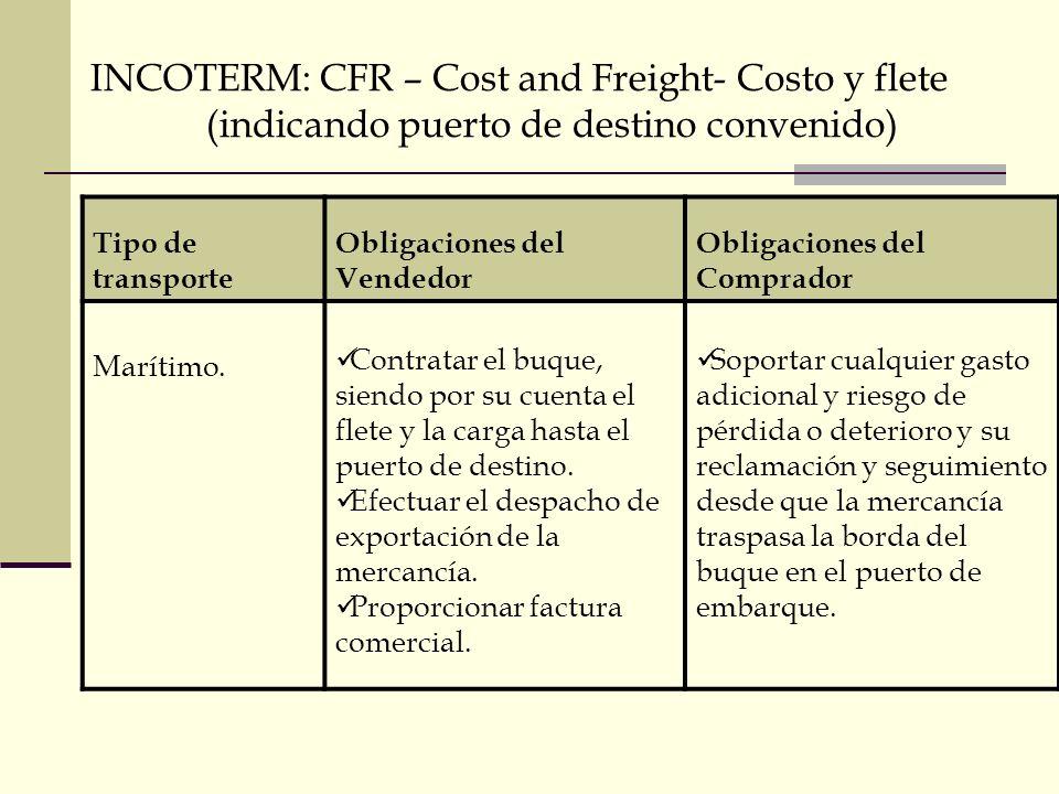 INCOTERM: CFR – Cost and Freight- Costo y flete (indicando puerto de destino convenido) Tipo de transporte Obligaciones del Vendedor Obligaciones del