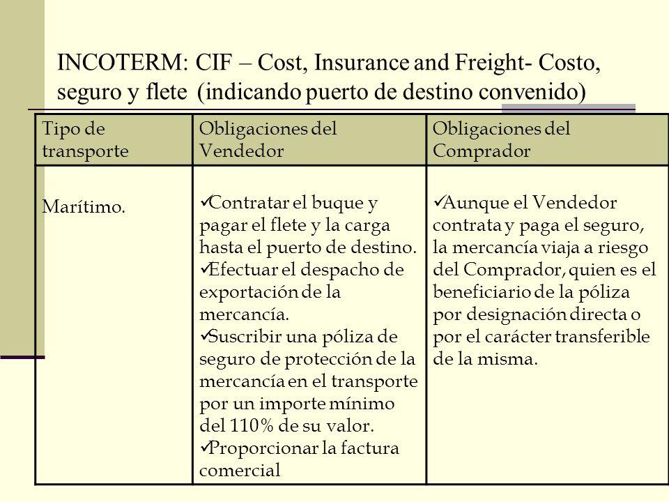 INCOTERM: CIF – Cost, Insurance and Freight- Costo, seguro y flete (indicando puerto de destino convenido) Tipo de transporte Obligaciones del Vendedo