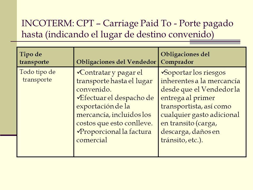 INCOTERM: CPT – Carriage Paid To - Porte pagado hasta (indicando el lugar de destino convenido) Tipo de transporteObligaciones del Vendedor Obligacion