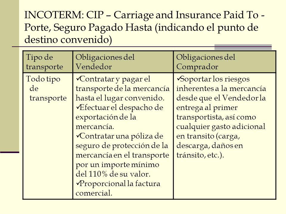 INCOTERM: CIP – Carriage and Insurance Paid To - Porte, Seguro Pagado Hasta (indicando el punto de destino convenido) Tipo de transporte Obligaciones
