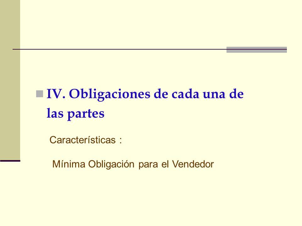 IV. Obligaciones de cada una de las partes Características : Mínima Obligación para el Vendedor