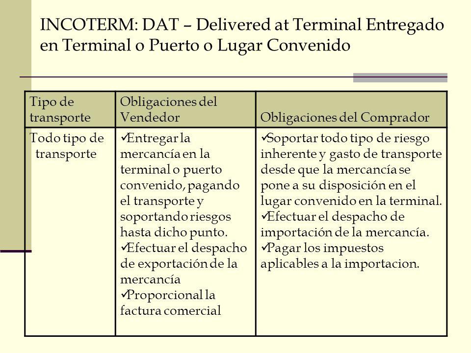 INCOTERM: DAT – Delivered at Terminal Entregado en Terminal o Puerto o Lugar Convenido Tipo de transporte Obligaciones del VendedorObligaciones del Co