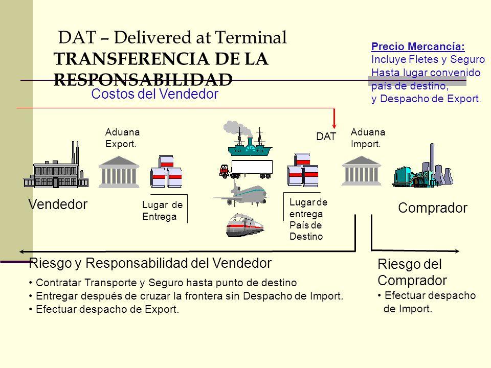 DAT – Delivered at Terminal TRANSFERENCIA DE LA RESPONSABILIDAD Riesgo del Comprador Efectuar despacho de Import. Vendedor Comprador Lugar de Entrega