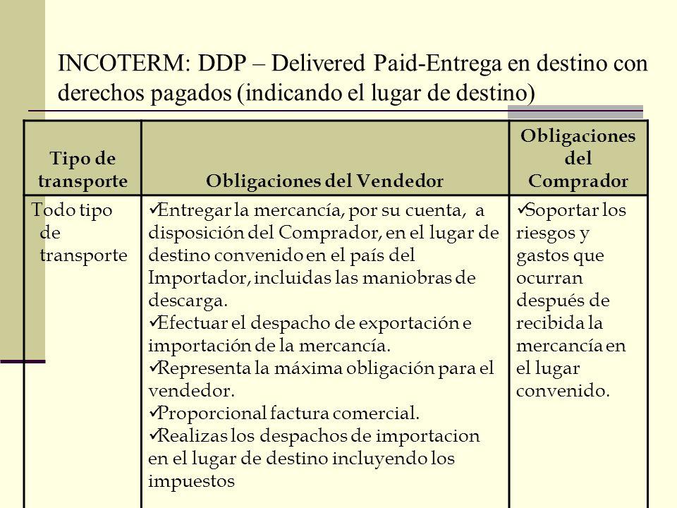 INCOTERM: DDP – Delivered Paid-Entrega en destino con derechos pagados (indicando el lugar de destino) Tipo de transporteObligaciones del Vendedor Obl