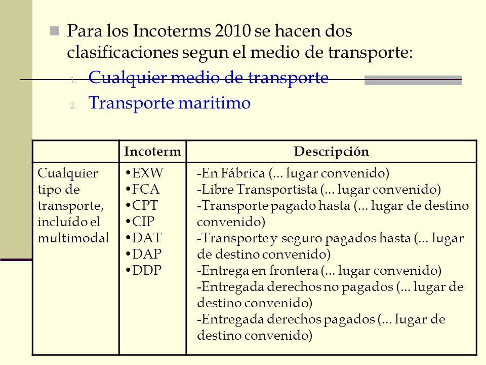 Modo de transporte e INCOTERM apropiado: Para los Incoterms 2010 se hacen dos clasificaciones segun el medio de transporte: 1. Cualquier medio de tran
