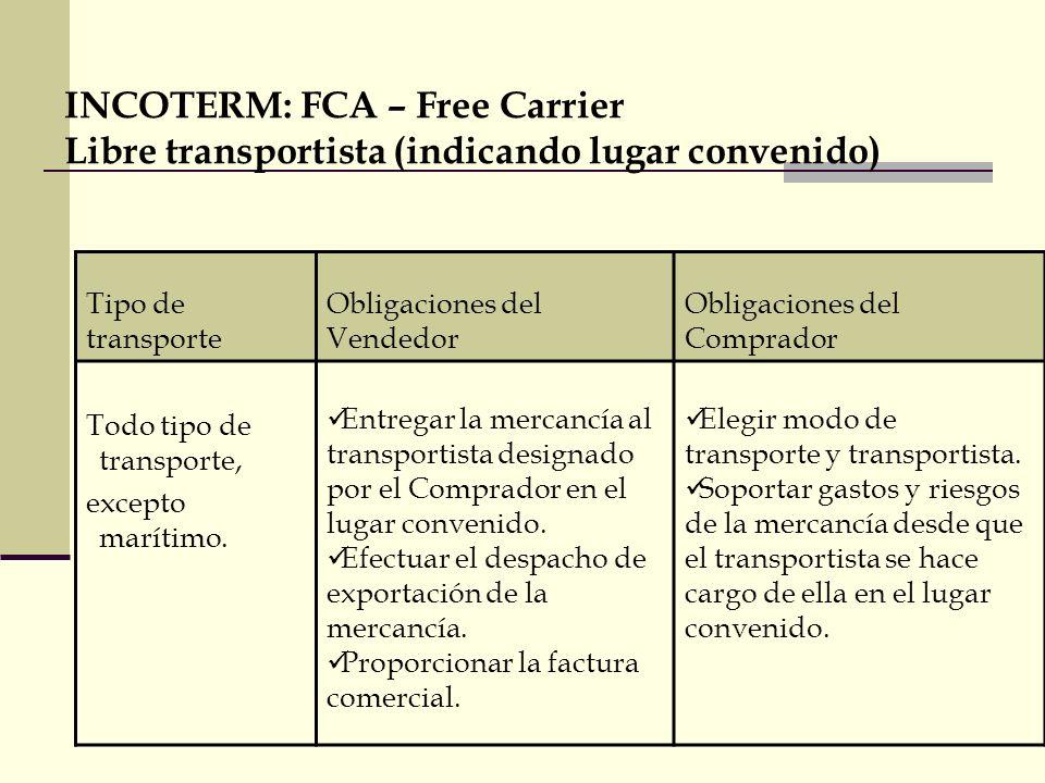 FCA - Free Carrier TRANSFERENCIA DE LA RESPONSABILIDAD Riesgo y Responsabilidad del Comprador Contratar Transporte y Seguro de la mercancía hasta destino Efectuar el despacho de Importación Vendedor Comprador Puerto de Embarque Puerto de Destino Aduan a Export.