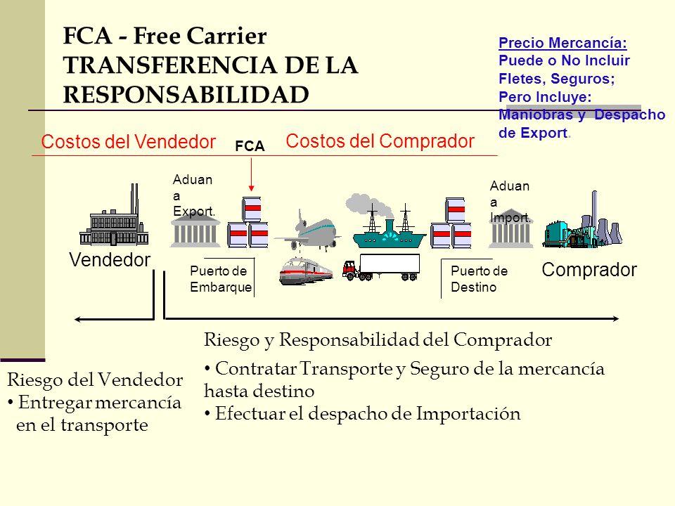 FCA - Free Carrier TRANSFERENCIA DE LA RESPONSABILIDAD Riesgo y Responsabilidad del Comprador Contratar Transporte y Seguro de la mercancía hasta dest