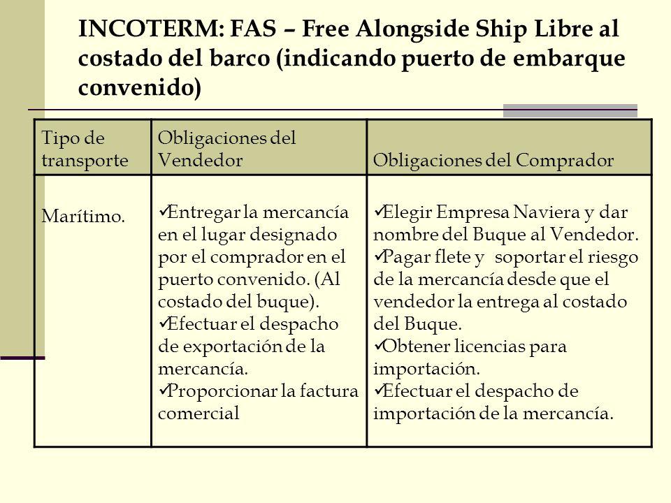 INCOTERM: FAS – Free Alongside Ship Libre al costado del barco (indicando puerto de embarque convenido) Tipo de transporte Obligaciones del VendedorOb