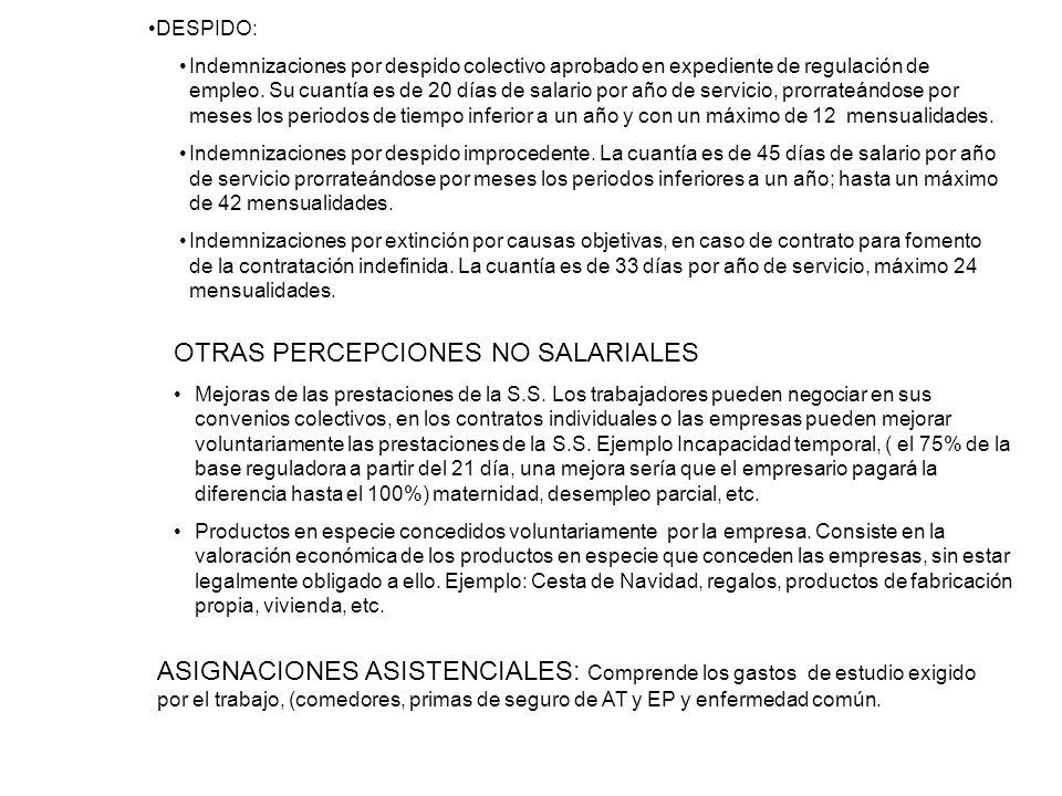 INDEMNIZACIONES POR TRASLADOS, SUSPENSIONES O DESPIDOS. DESPIDO: Indemnizaciones por despido colectivo aprobado en expediente de regulación de empleo.