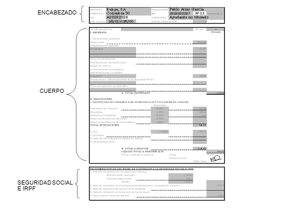 ENCABEZADO CUERPO SEGURIDAD SOCIAL E IRPF