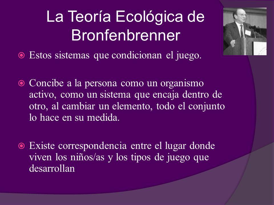 La Teoría Ecológica de Bronfenbrenner Estos sistemas que condicionan el juego. Concibe a la persona como un organismo activo, como un sistema que enca