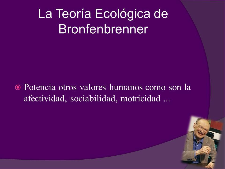 La Teoría Ecológica de Bronfenbrenner Potencia otros valores humanos como son la afectividad, sociabilidad, motricidad...