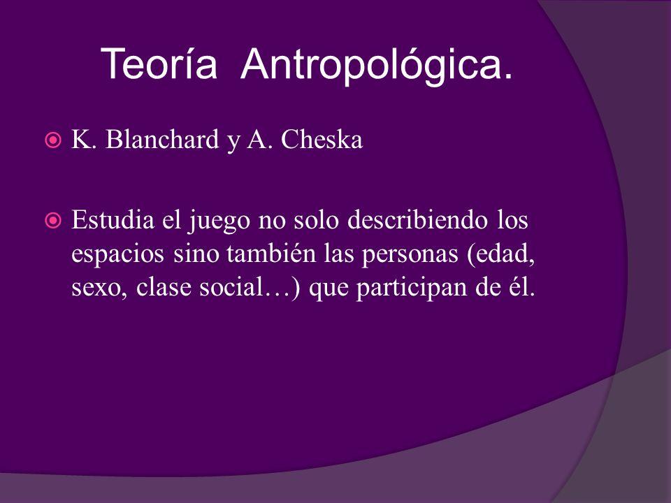 Teoría Antropológica. K. Blanchard y A. Cheska Estudia el juego no solo describiendo los espacios sino también las personas (edad, sexo, clase social…