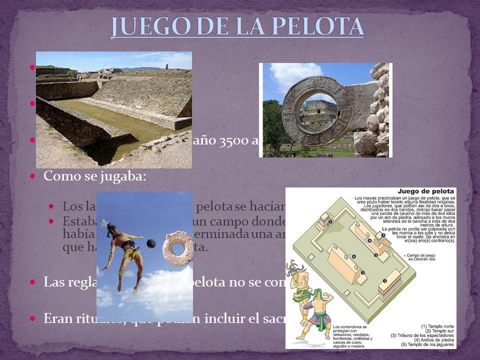 Origen del fútbol. Origen: Mesoamérica Apareció: alrededor del año 3500 a.C. Como se jugaba: Los lanzamientos de la pelota se hacían con la cadera Est