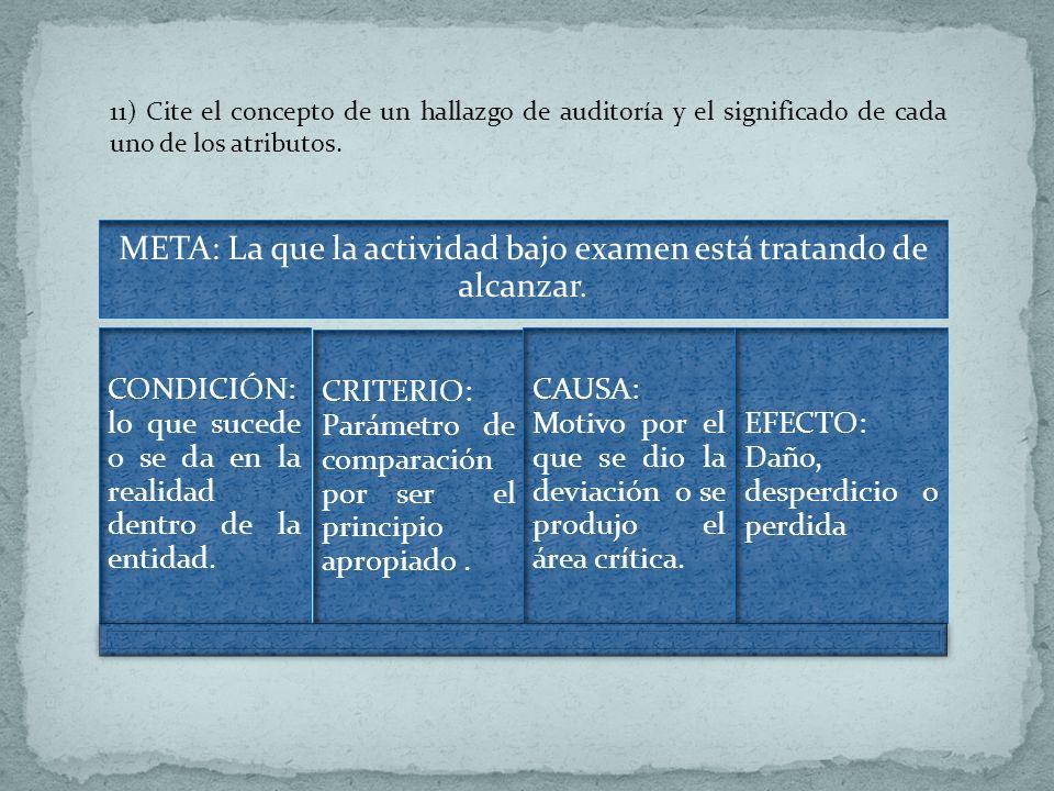 11) Cite el concepto de un hallazgo de auditoría y el significado de cada uno de los atributos. META: La que la actividad bajo examen está tratando de