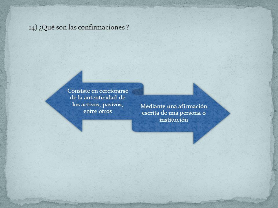 14) ¿Qué son las confirmaciones ? Consiste en cerciorarse de la autenticidad de los activos, pasivos, entre otros Mediante una afirmación escrita de u