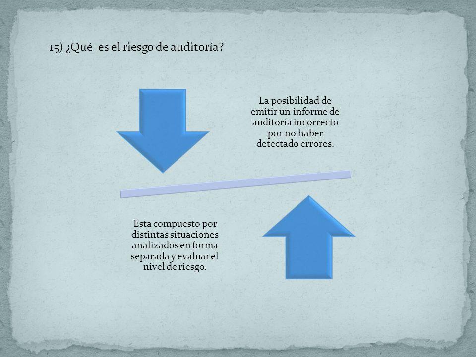 15) ¿Qué es el riesgo de auditoría? La posibilidad de emitir un informe de auditoría incorrecto por no haber detectado errores. Esta compuesto por dis