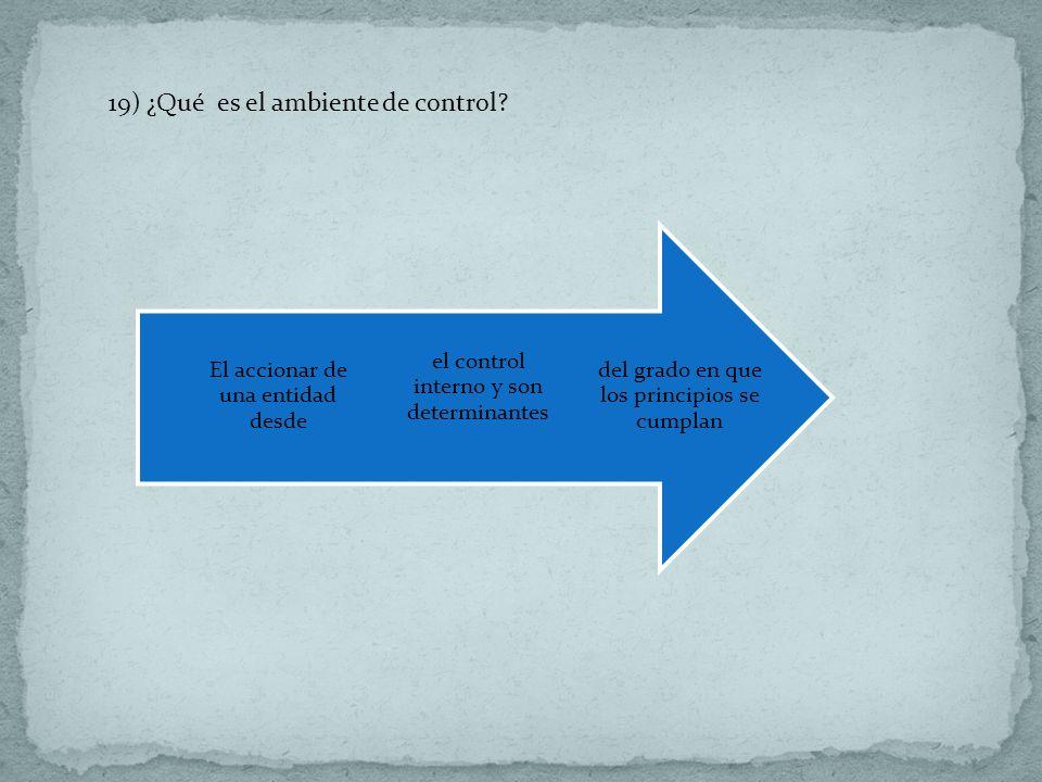 19) ¿Qué es el ambiente de control? del grado en que los principios se cumplan el control interno y son determinantes El accionar de una entidad desde