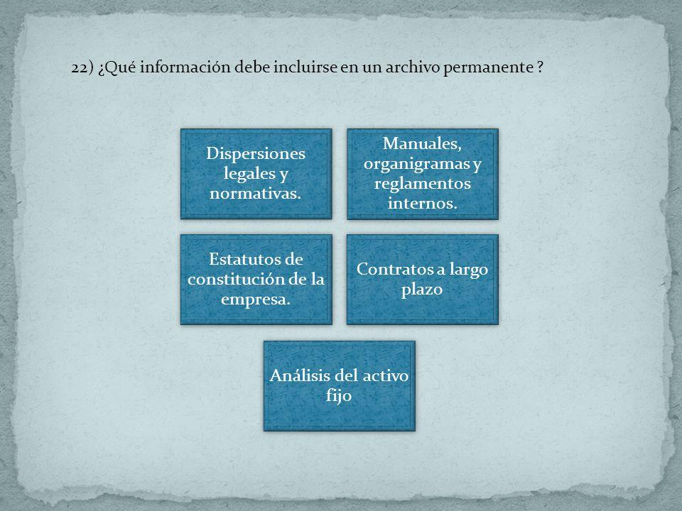 22) ¿Qué información debe incluirse en un archivo permanente ? Dispersiones legales y normativas. Manuales, organigramas y reglamentos internos. Estat