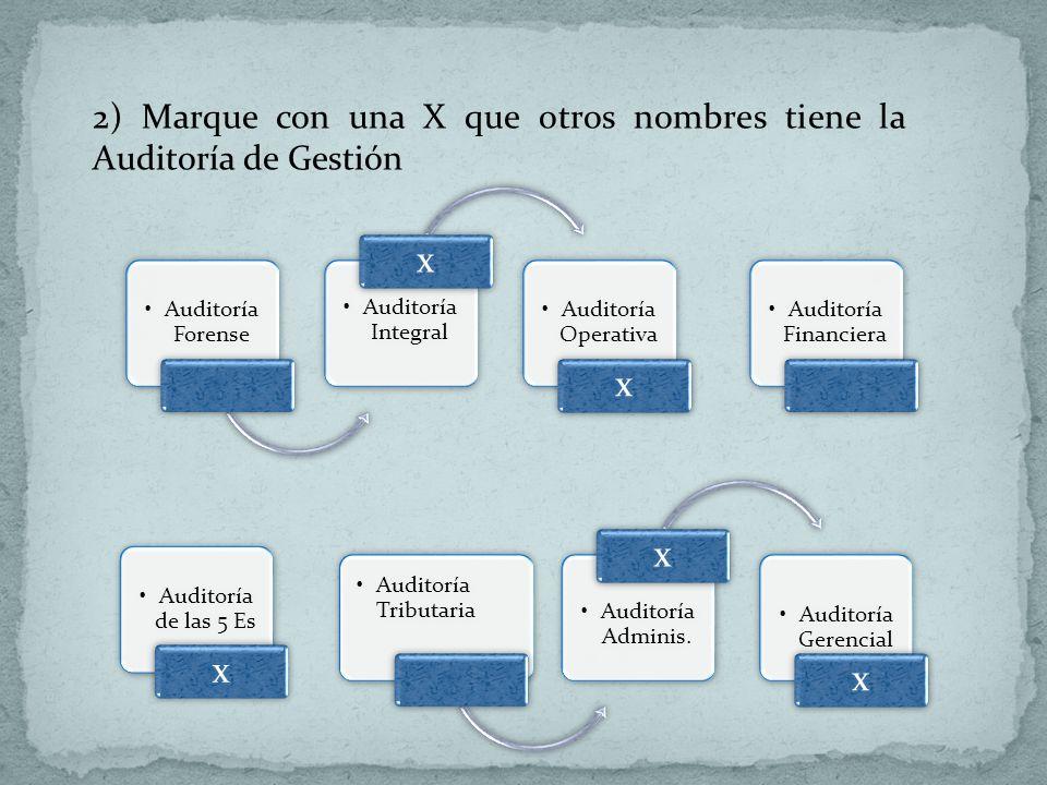 Auditoría Forense Auditoría Integral x Auditoría Operativa x 2) Marque con una X que otros nombres tiene la Auditoría de Gestión Auditoría Financiera
