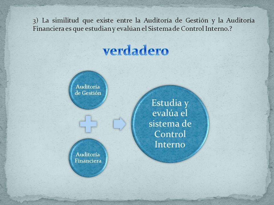 Auditoría de Gestión Auditoría Financiera Estudia y evalúa el sistema de Control Interno 3) La similitud que existe entre la Auditoría de Gestión y la