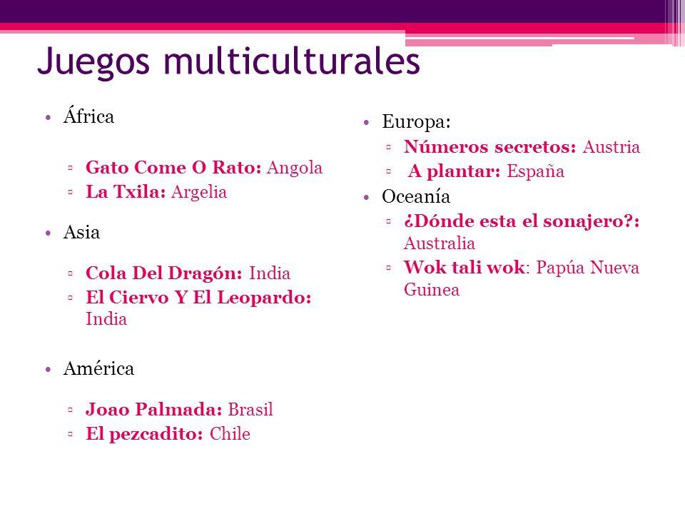 Juegos multiculturales África Gato Come O Rato: Angola La Txila: Argelia Asia Cola Del Dragón: India El Ciervo Y El Leopardo: India América Joao Palma