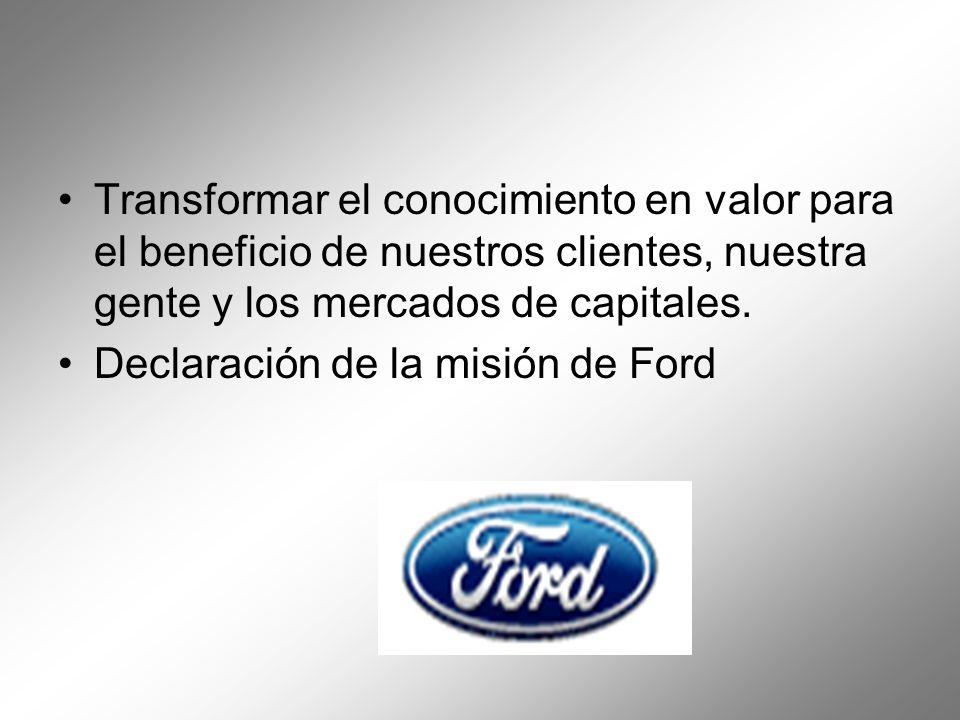 Transformar el conocimiento en valor para el beneficio de nuestros clientes, nuestra gente y los mercados de capitales. Declaración de la misión de Fo